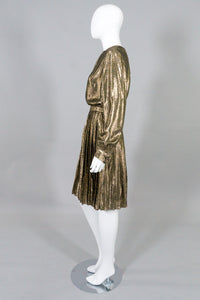 Christian A. Metallic Gold Lamé Blouse & Skirt Set