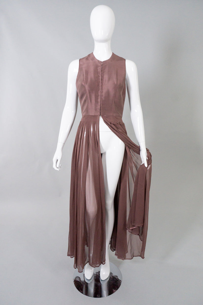 Morgane Le Fay Sheer Silk Vest Bodice Dress