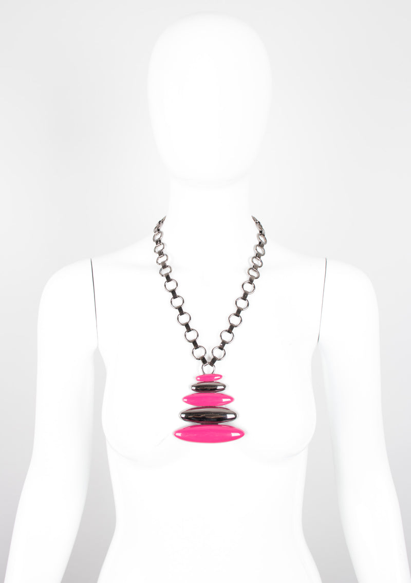 Monet Gunmetal Stacked Lucite Necklace