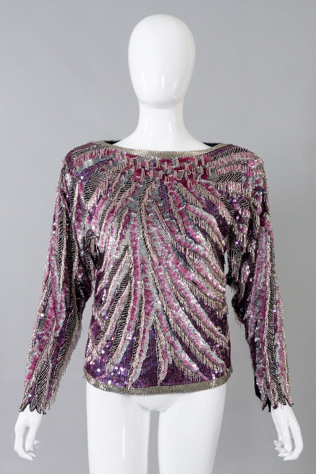 Halston Beaded Fringe Pink Flamingo Top