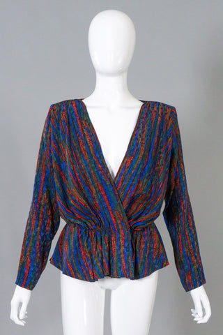 YSL Yves Saint Laurent Rive Gauche Vintage Silk Wrap Top