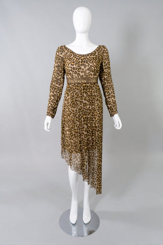 Galanos Asymmetrical Silk Chiffon Leopard Print Dress