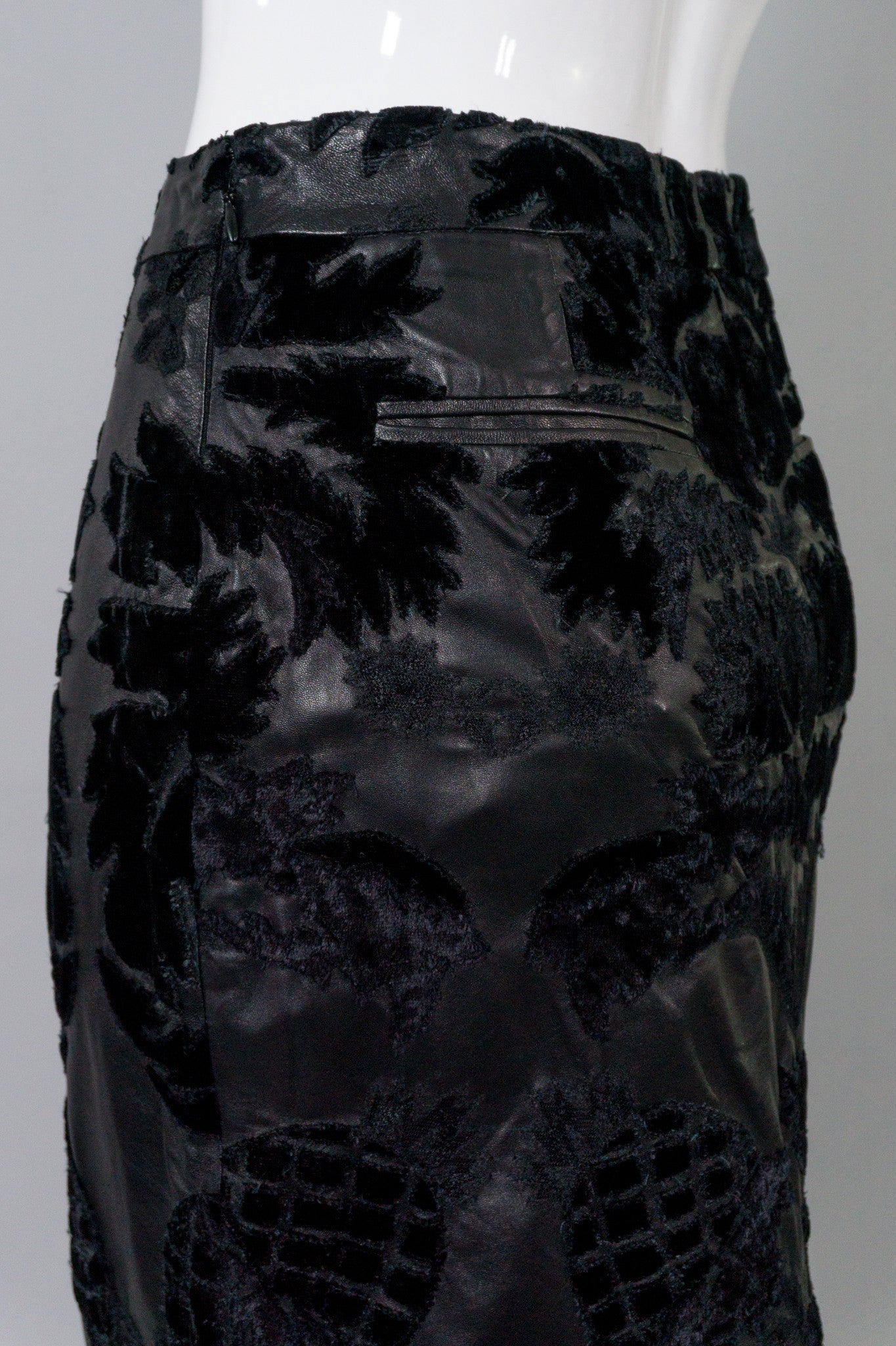 Yves Saint Laurent Rive Gauche Leather Embroidered Pencil Skirt
