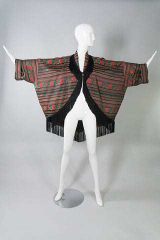 Callaghan Vintage Fringed Brocade Cocoon Jacket