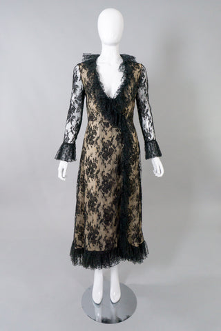 Bill Blass Vintage Lace Wrap Dress