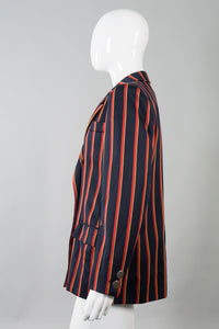 Yves Saint Laurent Double Breasted Striped Captain Blazer