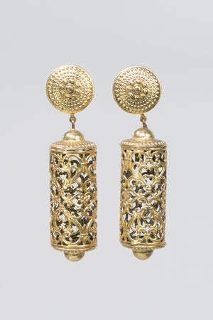 Vintage Filigree Scroll Barrel Earrings