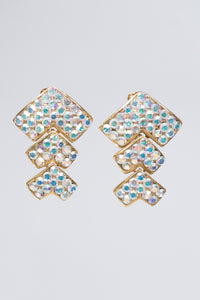 Vintage Iridescent Crystal Chevron Earrings