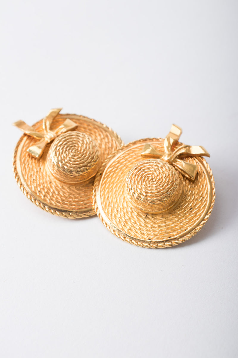 Chanel Signature Gold Boater Hat Earrings