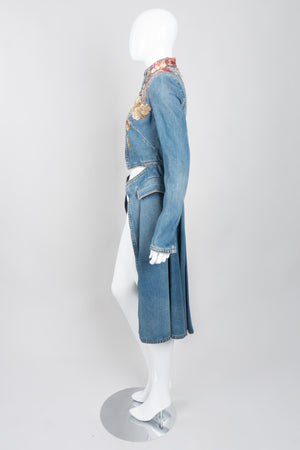Alexander McQueen Beaded Denim Cutaway Coat