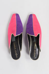Charles Jourdan Carnival Silk Colorblock Mules