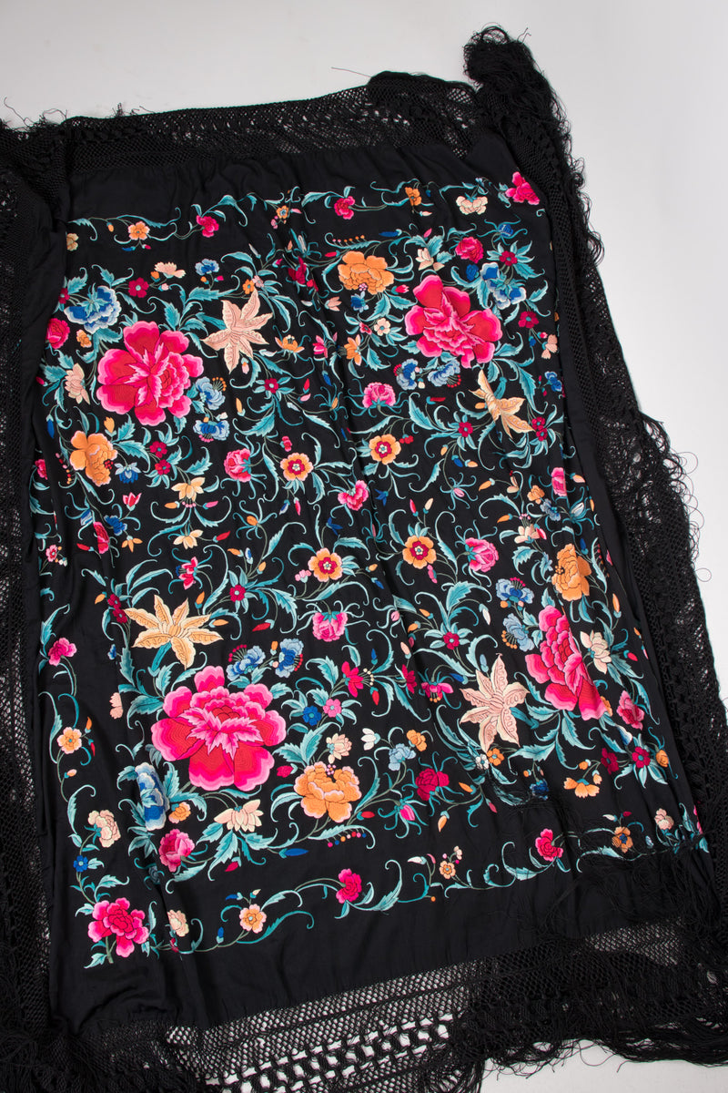 Vintage Embroidered Floral Piano Shawl