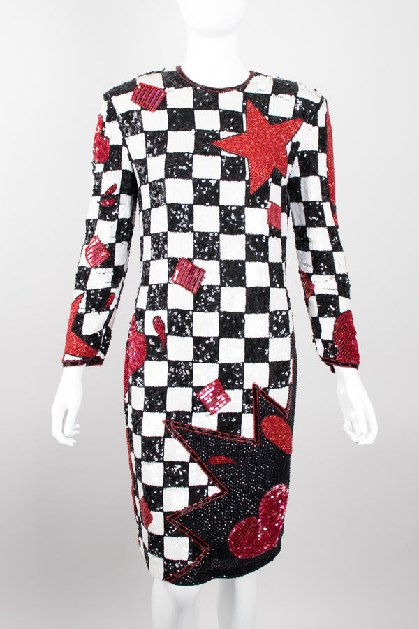Escada by Ella Singh Checkerboard Comic Explosion Sequin Cocktail Dress