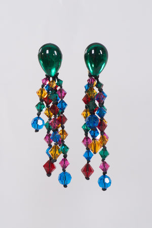 Rainbow Crystal Waterfall Drop Earrings
