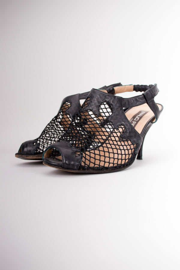 Maud Frizon Fishnet Mesh Open Toe Shoetie Heels