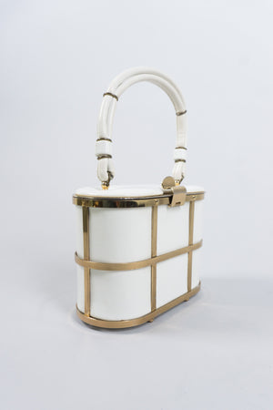 Ethel Gold Metal Cage Vintage Leather Box Bag