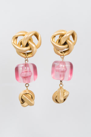 Pink Ice Metal Knot Energon Cube Clip Earrings