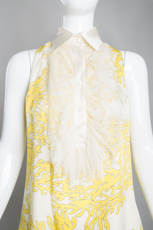 Bill Blass Sunshine Coral Print Lace Front Sleeveless Blouse