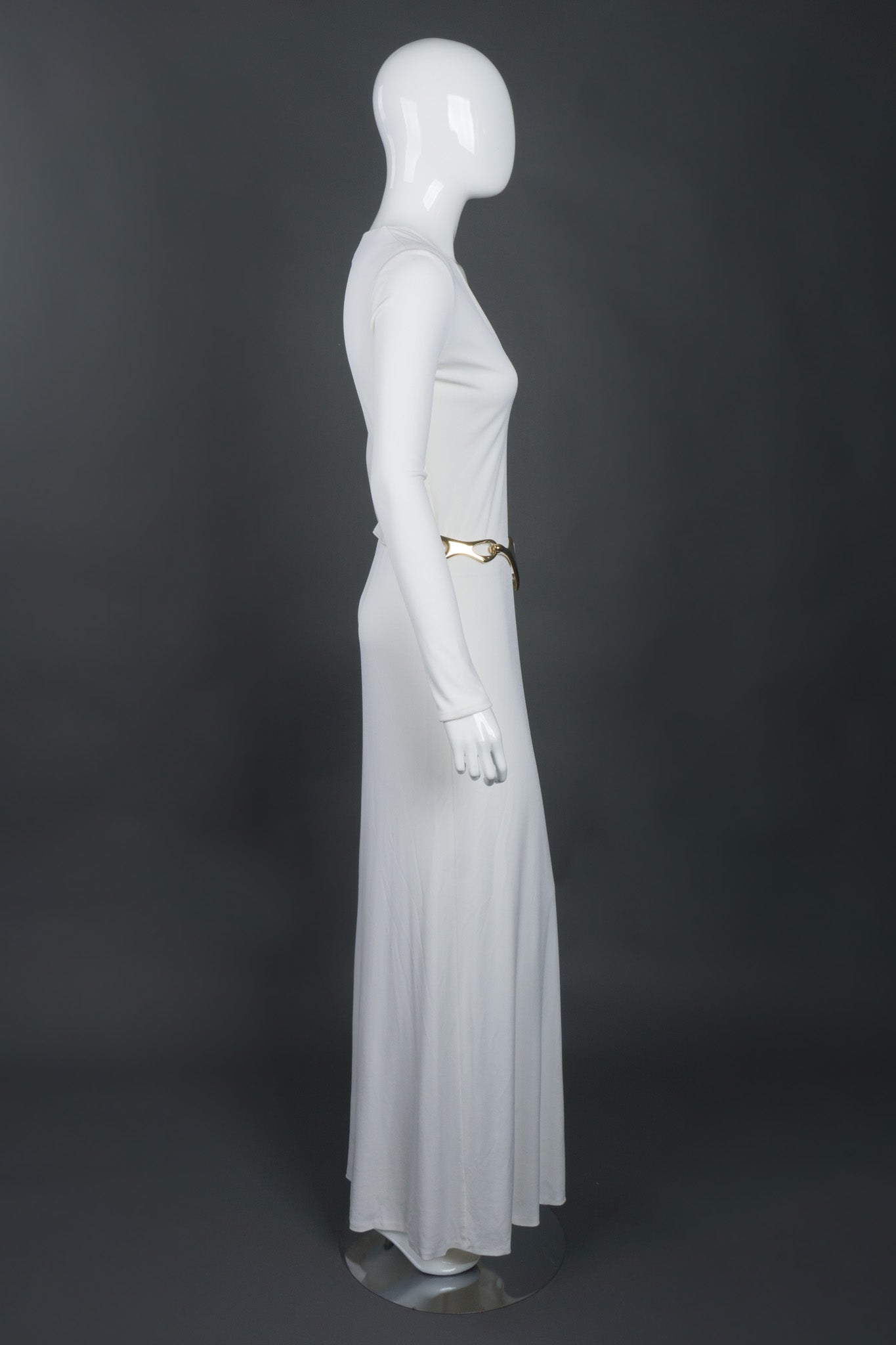 Tom Ford Gucci Rare Iconic Minimalist 1996 White Jersey Gown with Belt