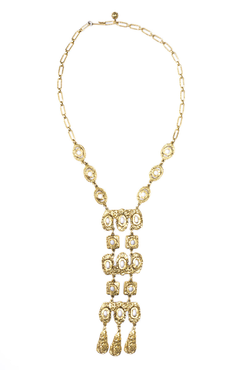 Goldette Hammered Eyelet Pendant Plate Necklace