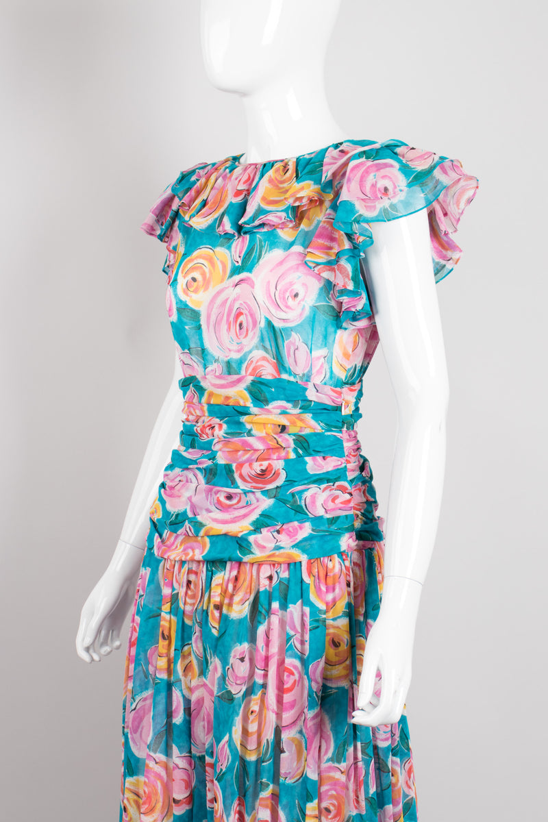 Miss O by Oscar de la Renta Tropical Rose Voile Ruffle Top