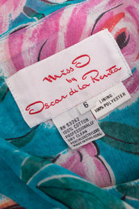 Miss O Oscar de la Renta Cotton Batiste Sheer Gathered Tropical Rose Skirt
