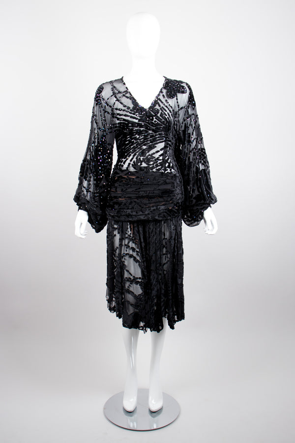 Kioko Goth Sequined Sheer Silk Velvet Burnout Dress