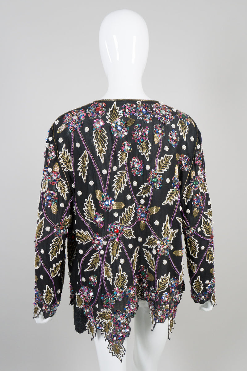 Lillie Rubin Vintage Beaded Leaf Open Jacket