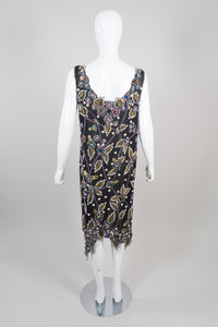 Liilie Rubin Vintage Beaded Leaf Sheath Dress