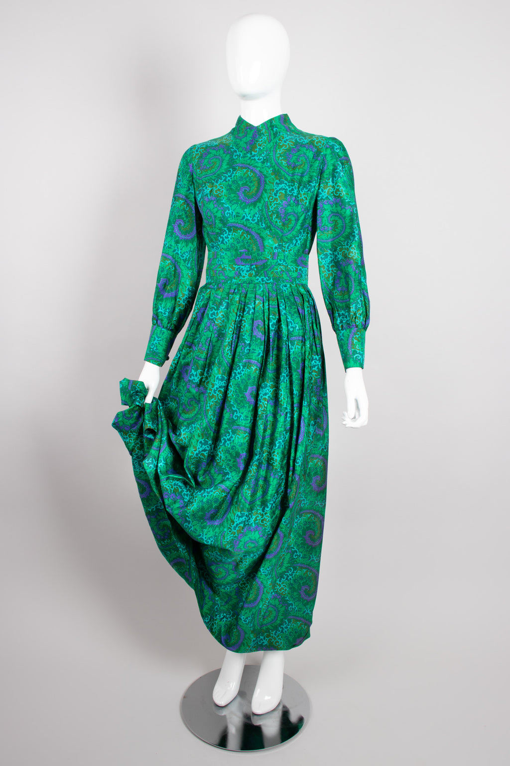Vintage Raw Silk Swirl Flourish Print Dress