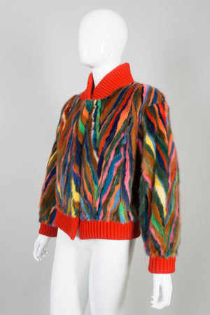 Vintage Revillon Rainbow Fur Bomber Varsity Jacket