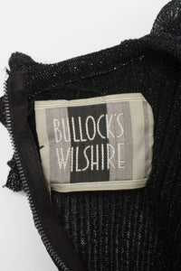 Bullocks Wilshire Vintage Sheer Metallic Rib Knit Dress