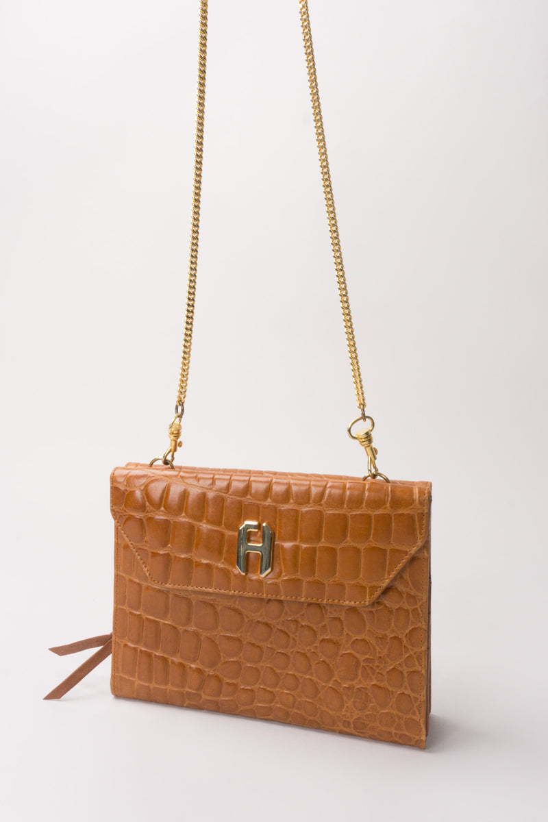 Fred Hayman Vintage Alligator Wallet On A Chain Crossbody Bag