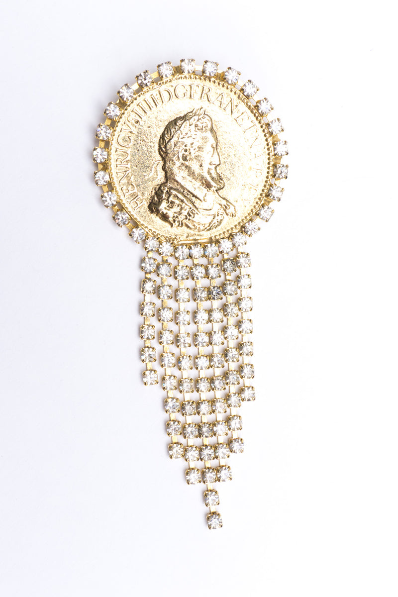 Vintage French Franc Rhinestone Fringe Coin Brooch Pin