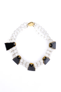 Vintage Frosted Bead and Obsidian Choker
