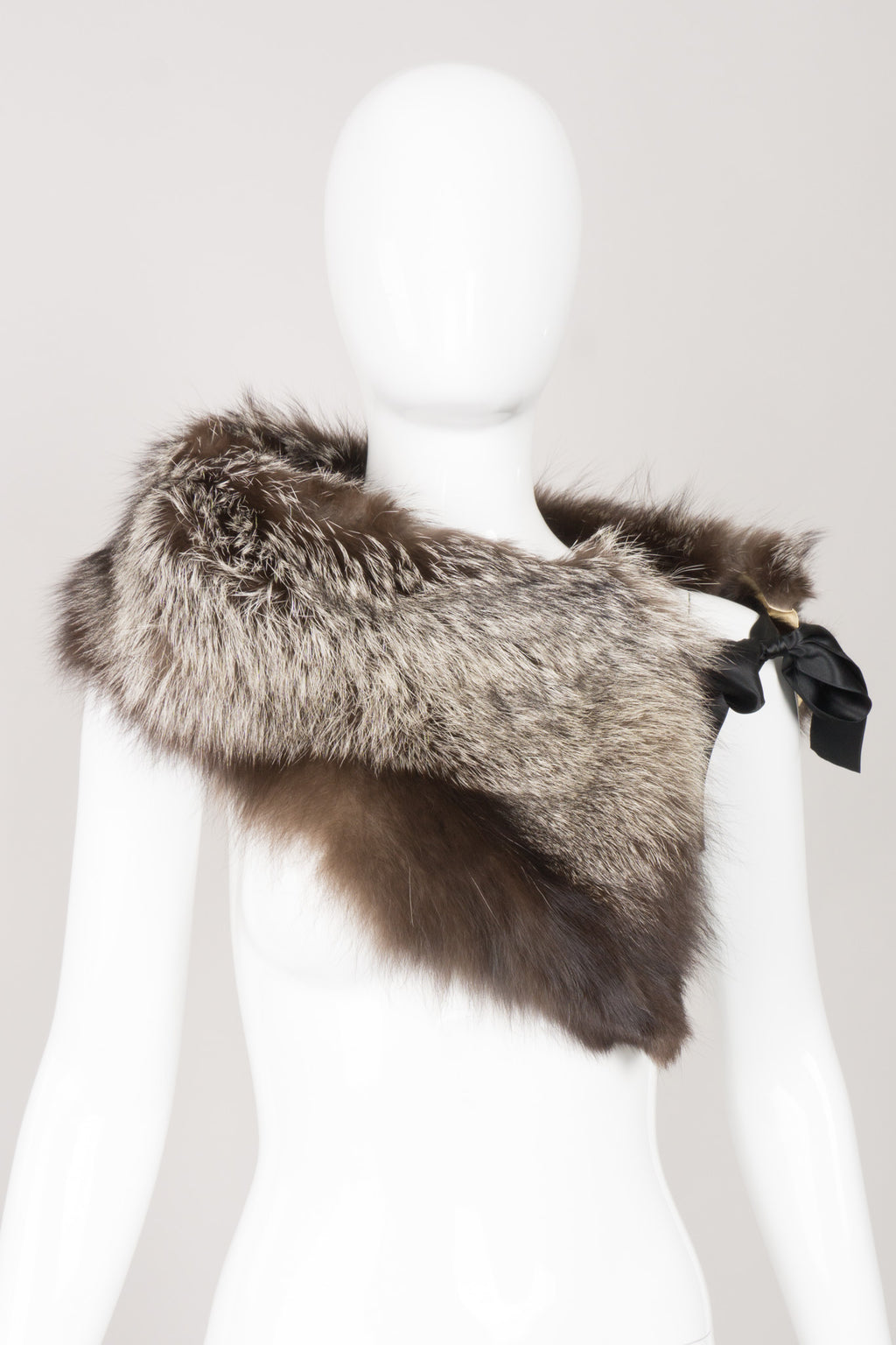 Vintage Fur Ribbon-Tie Shawl