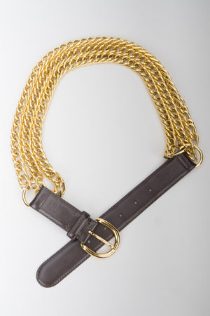 Gucci Triple Chain Leather Buckle Belt