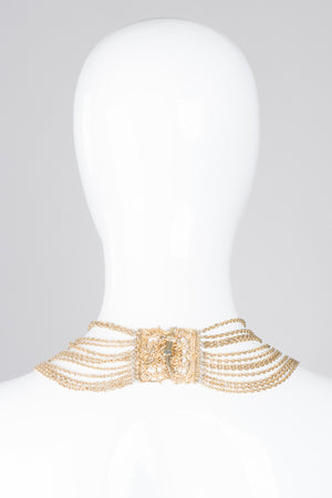 Vintage Etruscan Filigree Chain Collar Necklace