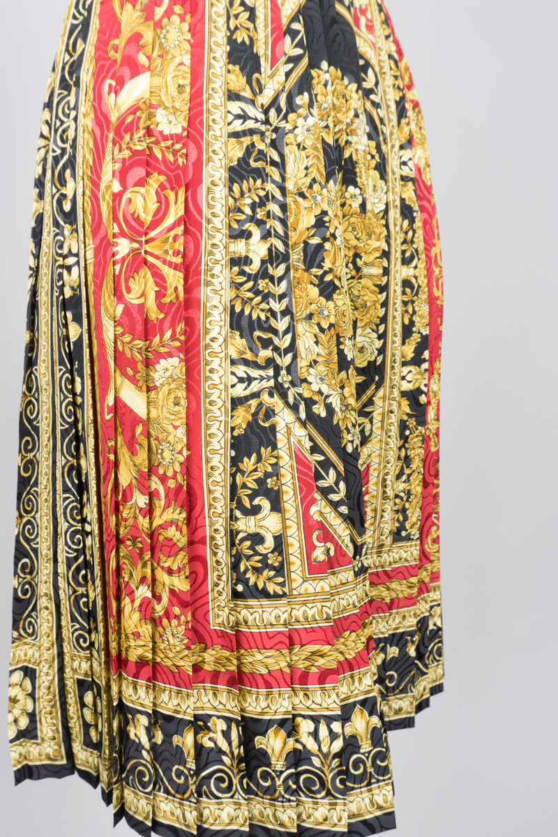 Oleg Cassini Baroque Scarf Print Knife Pleat Accordion Skirt