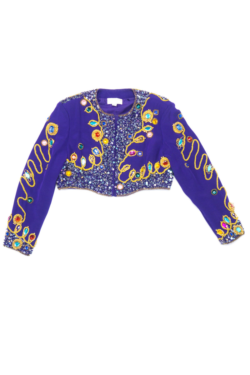 Victoria Royal Embellished Sequin Beaded Crop Matador Jacket