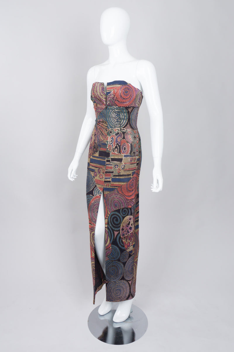 Janine of London 80s Painted Abstract Sheath Column Gown