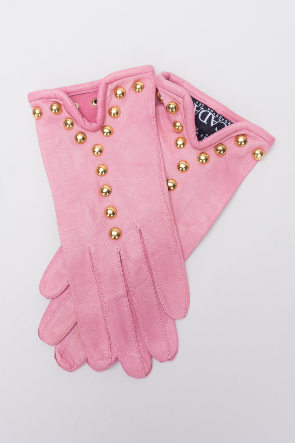 Escada Gold Y-Stud Leather Gloves