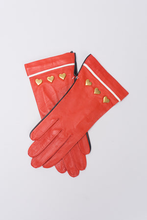 Escada Heart Stud Leather Gloves