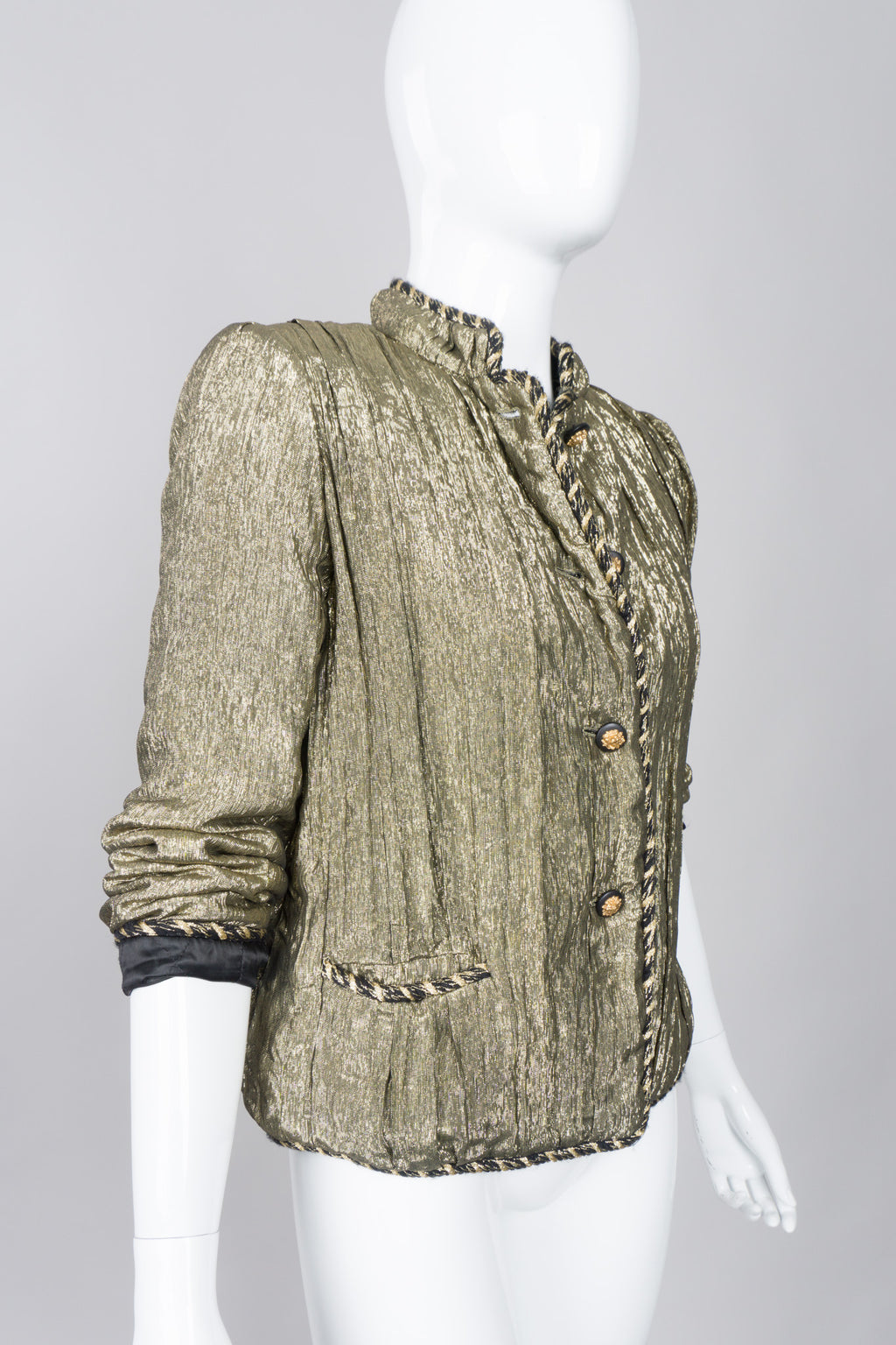 Chanel Creations Pre-Lagerfeld Vintage Metallic Lamé Quilted Jacket