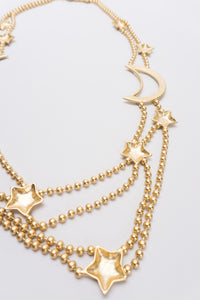 Shooting Stars and Moon Layered Matte Gold Necklace