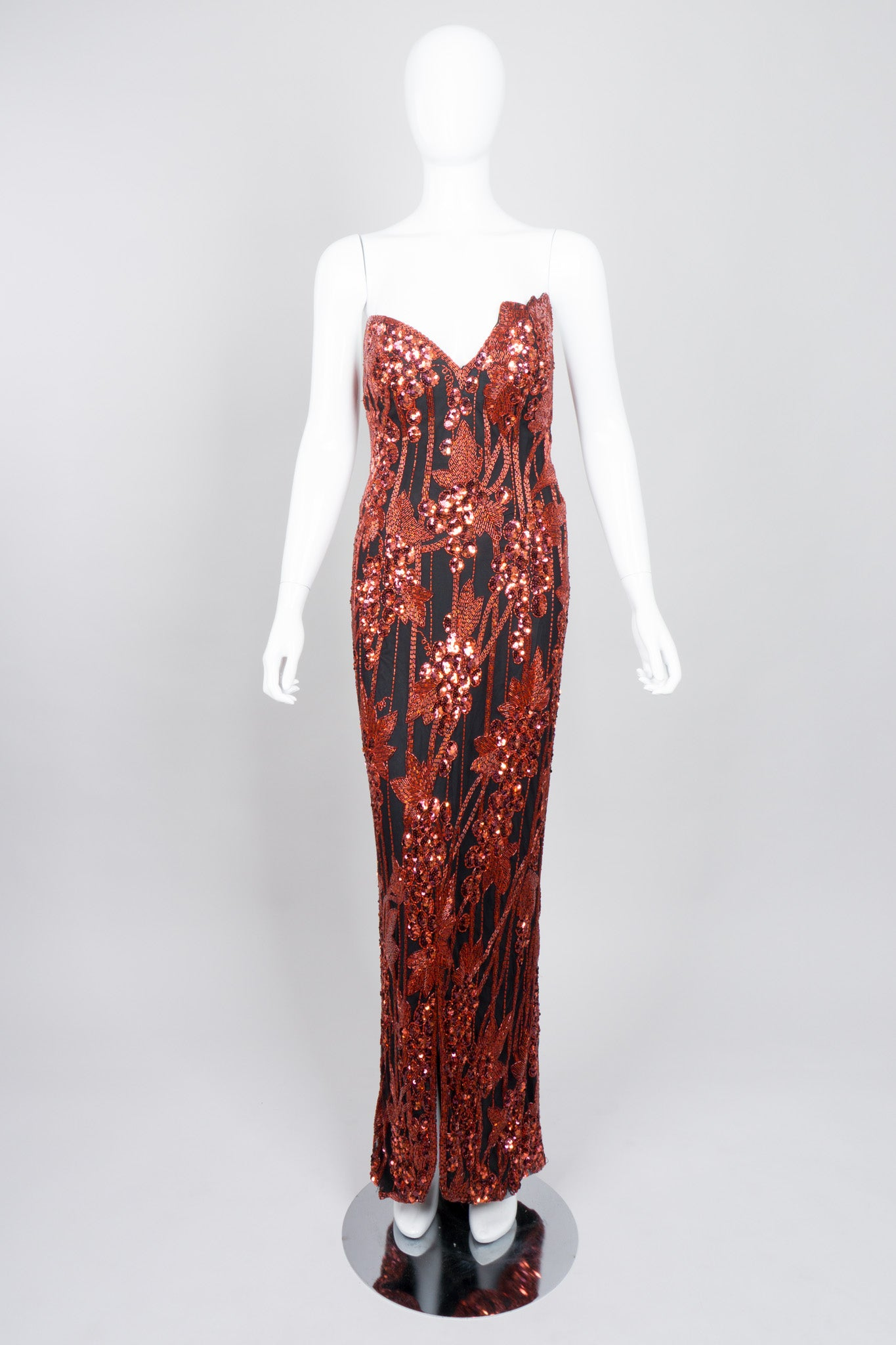 Red Grapes Beaded Gown