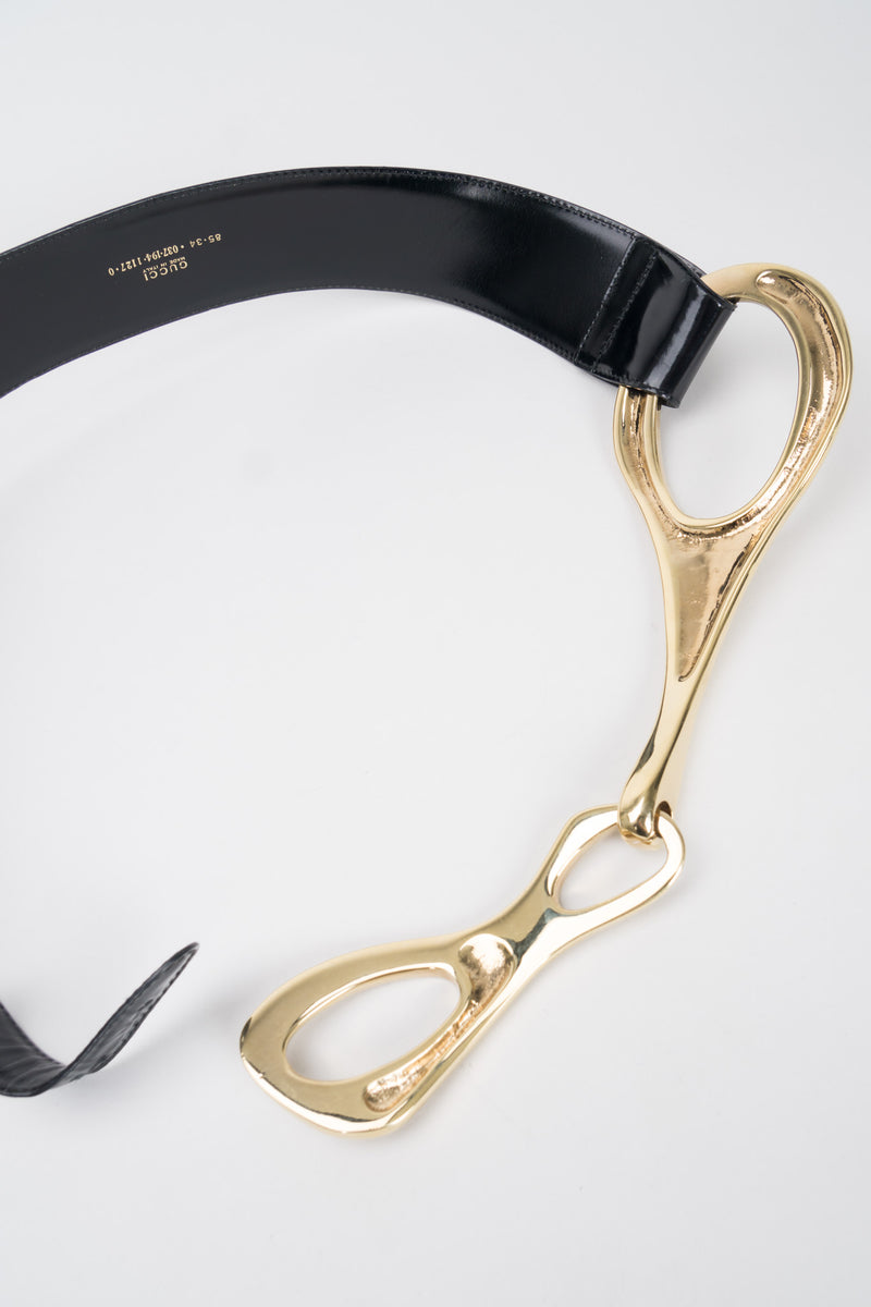 Gucci Tom Ford 1996 Leather Gold Gilt Buckle Belt Harness
