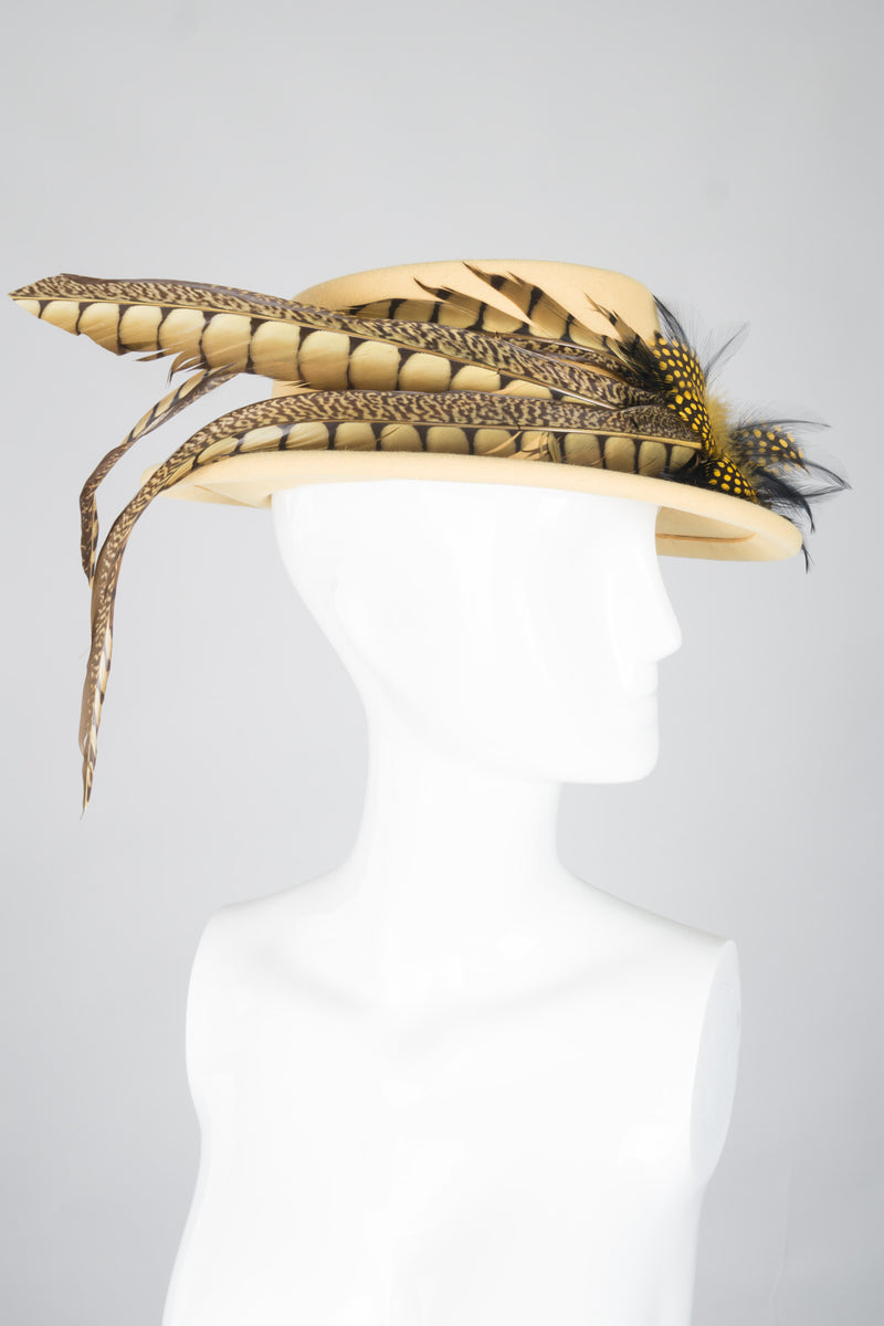 Givenchy Feather Felt Boater Hat