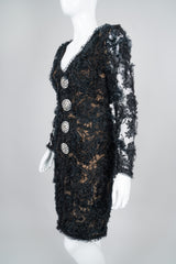Givenchy 80s Lace Mesh Ruffle Cocktail Dress