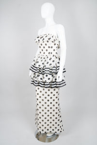 Givenchy 80s Silk Burlap Tiered Polka Dot Peplum Gown